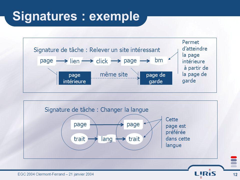 EGC 2004 Clermont-Ferrand – 21 janvier 2004 12 Signatures : exemple Signature de tâche : Relever un site intéressant page lien click page bm page inté