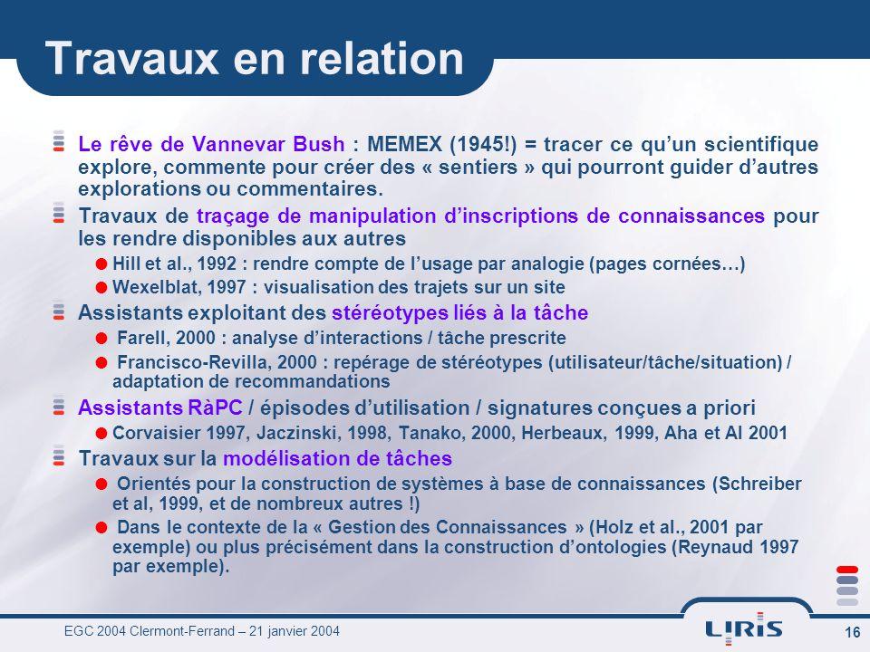 EGC 2004 Clermont-Ferrand – 21 janvier 2004 16 Travaux en relation Le rêve de Vannevar Bush : MEMEX (1945!) = tracer ce quun scientifique explore, com