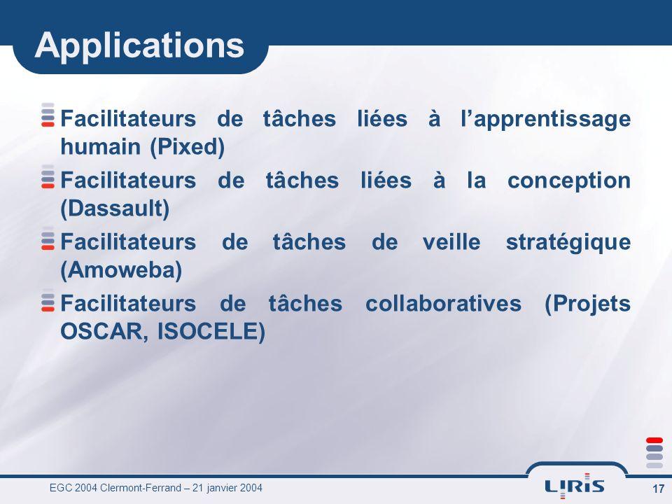 EGC 2004 Clermont-Ferrand – 21 janvier 2004 17 Applications Facilitateurs de tâches liées à lapprentissage humain (Pixed) Facilitateurs de tâches liées à la conception (Dassault) Facilitateurs de tâches de veille stratégique (Amoweba) Facilitateurs de tâches collaboratives (Projets OSCAR, ISOCELE)