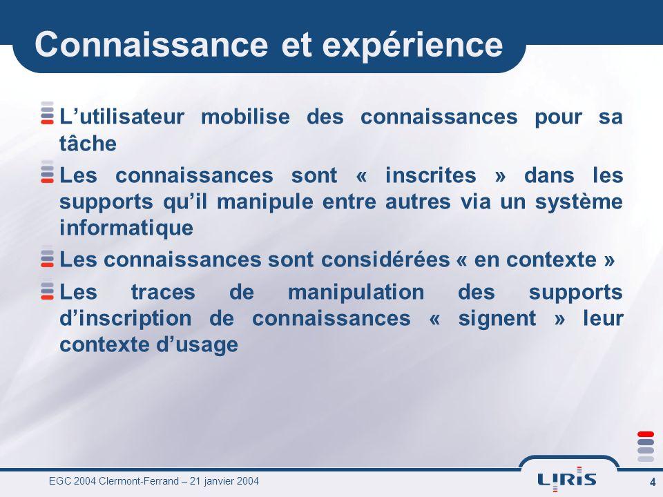EGC 2004 Clermont-Ferrand – 21 janvier 2004 4 Connaissance et expérience Lutilisateur mobilise des connaissances pour sa tâche Les connaissances sont
