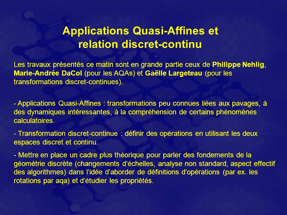 Applications Quasi-Affines et relation discret-continu Les travaux présentés ce matin sont en grande partie ceux de Philippe Nehlig, Marie-Andrée DaCol (pour les AQAs) et Gaëlle Largeteau (pour les transformations discret-continues).