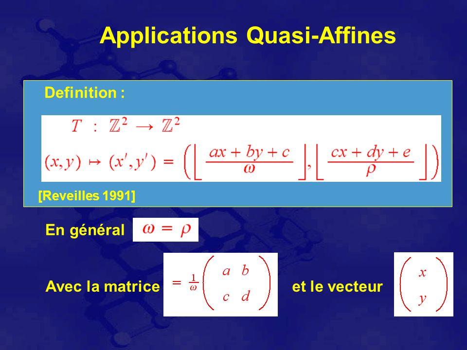 Applications Quasi-Affines [Reveilles 1991] Definition : En général Avec la matriceet le vecteur