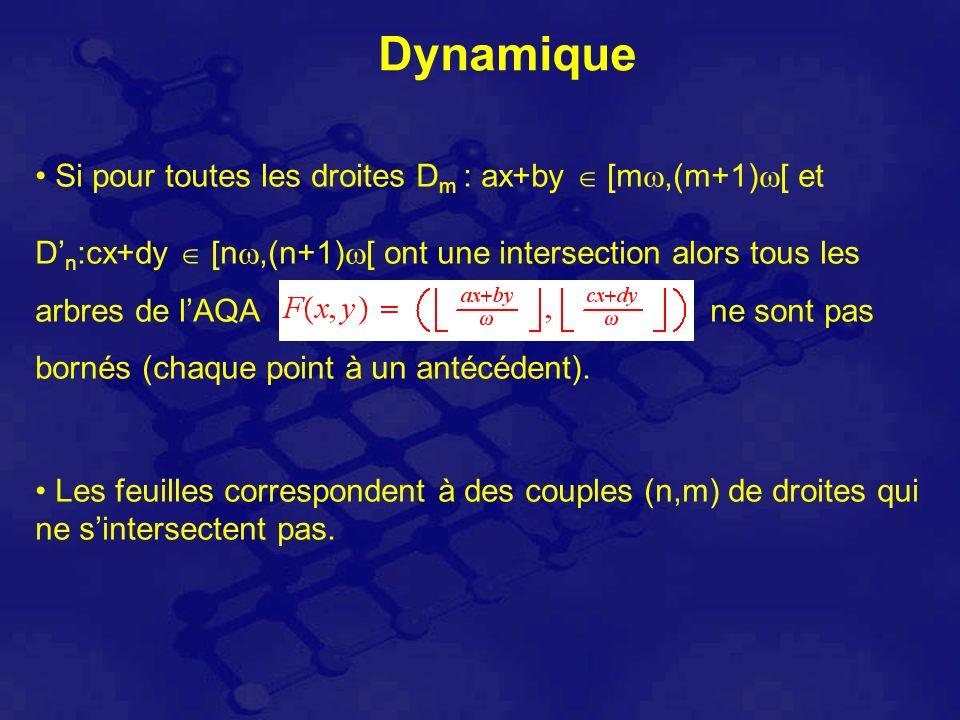 Dynamique Si pour toutes les droites D m : ax+by [m,(m+1) [ et D n :cx+dy [n,(n+1) [ ont une intersection alors tous les arbres de lAQA ne sont pas bornés (chaque point à un antécédent).