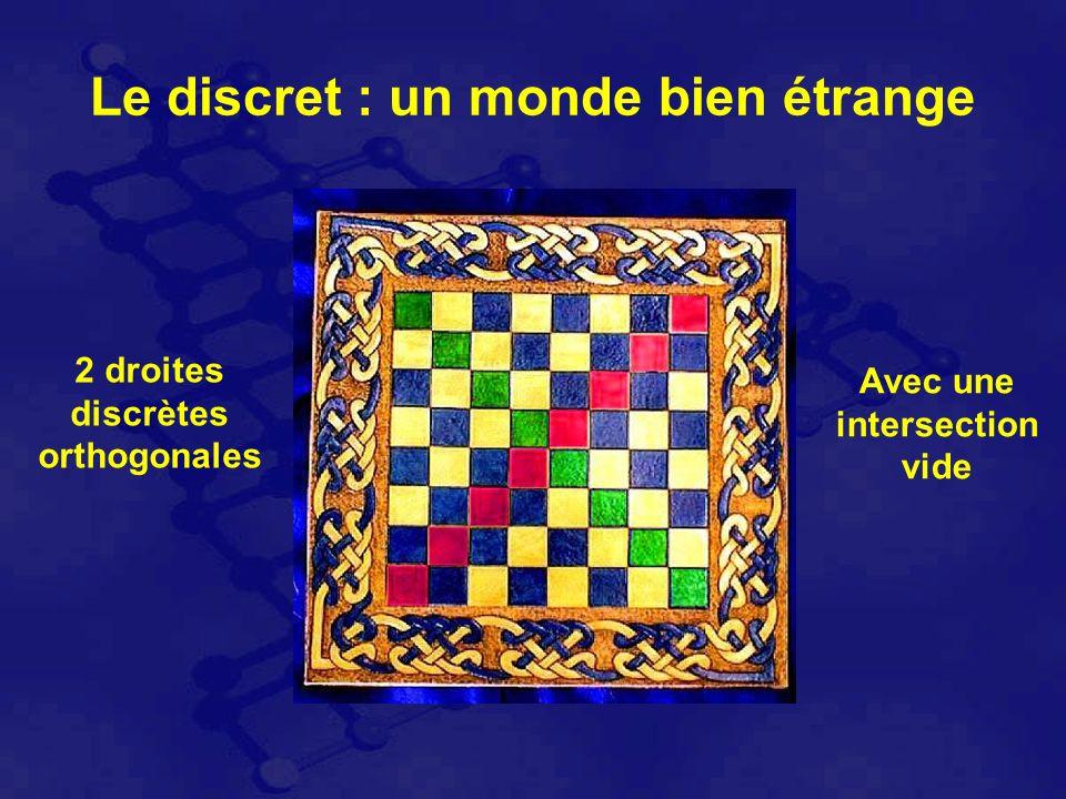 Avec une intersection vide 2 droites discrètes orthogonales Le discret : un monde bien étrange