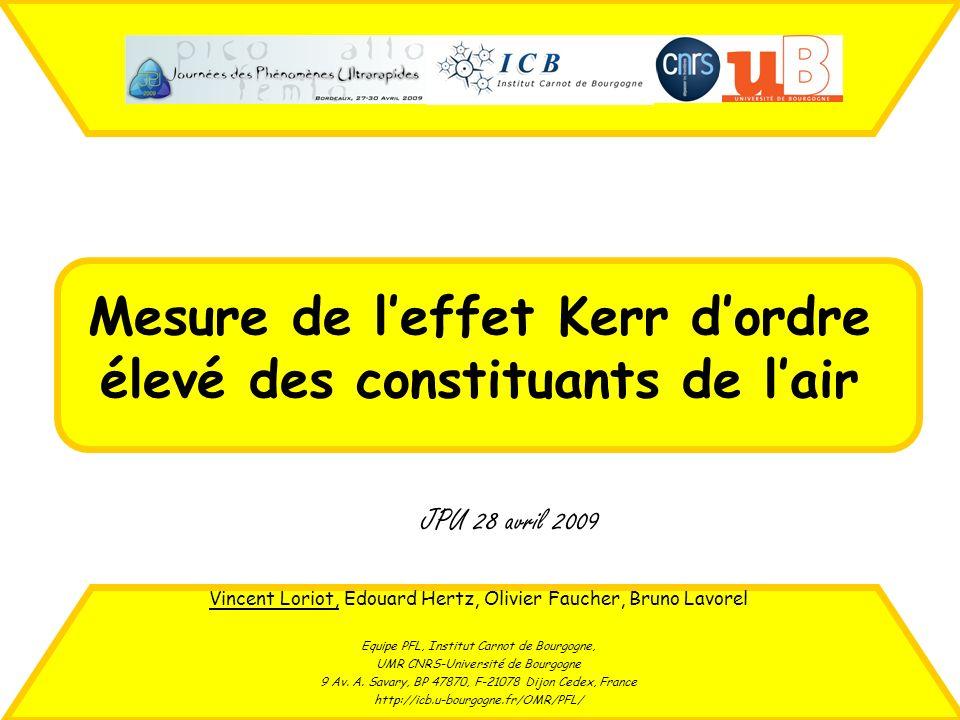 Mesure de leffet Kerr dordre élevé des constituants de lair Vincent Loriot, Edouard Hertz, Olivier Faucher, Bruno Lavorel Equipe PFL, Institut Carnot
