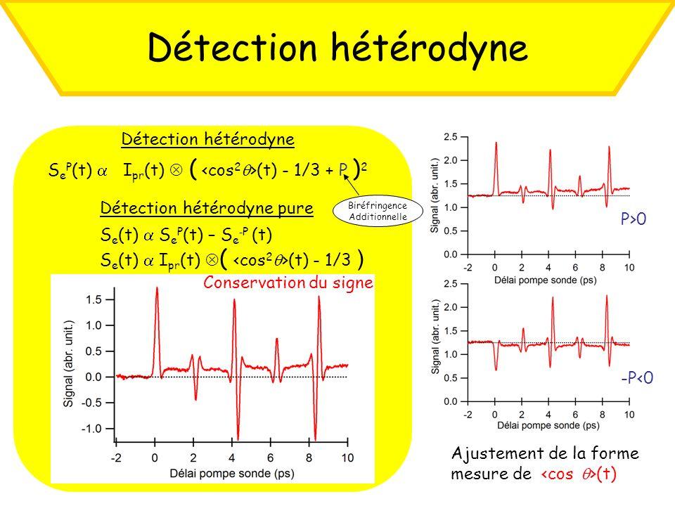 Détection hétérodyne S e P (t) I pr (t) ( (t) - 1/3 + P ) 2 P>0 -P<0 Détection hétérodyne pure S e (t) S e P (t) – S e - P (t) S e (t) I pr (t) ( (t)