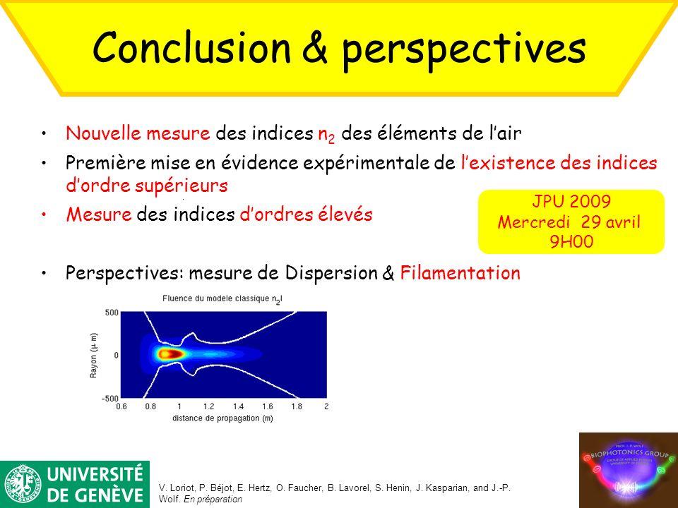 Conclusion & perspectives V. Loriot, P. Béjot, E. Hertz, O. Faucher, B. Lavorel, S. Henin, J. Kasparian, and J.-P. Wolf. En préparation JPU 2009 Mercr