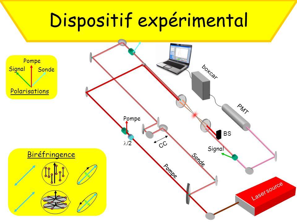 Dispositif expérimental Laser source Signal Sonde Pompe Polarisations Biréfringence CC BS PMT Signal Pompe /2 Pompe Sonde boxca r