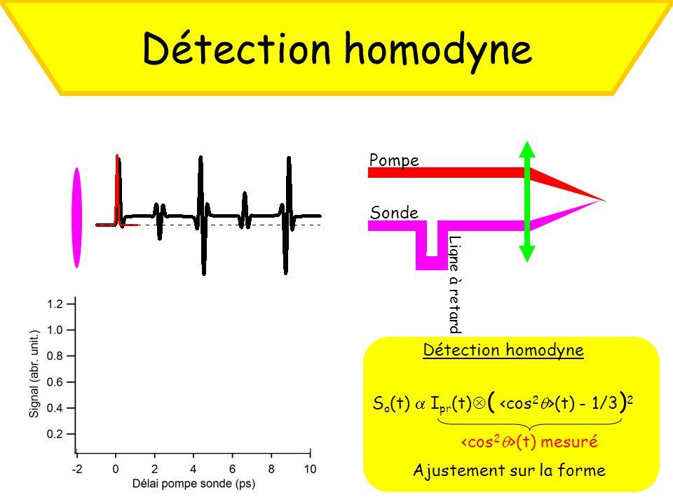 Détection homodyne S o (t) I pr (t) ( (t) - 1/3 ) 2 Ajustement sur la forme (t) mesuré Ligne à retard Pompe Sonde