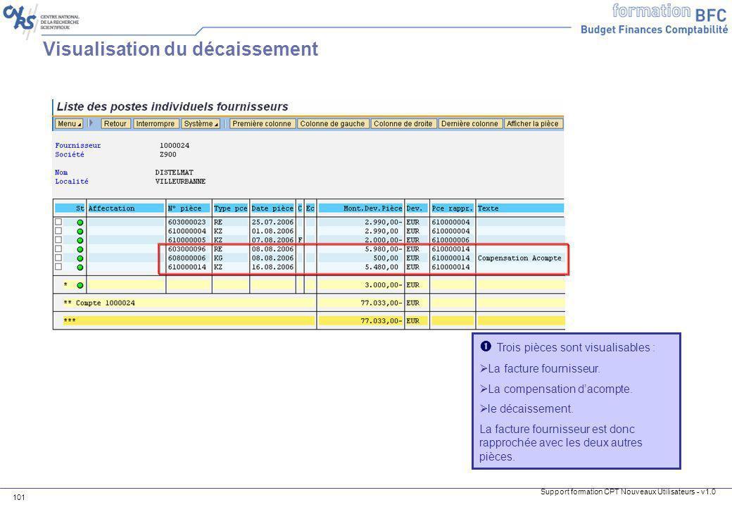 Support formation CPT Nouveaux Utilisateurs - v1.0 101 Trois pièces sont visualisables : La facture fournisseur. La compensation dacompte. le décaisse