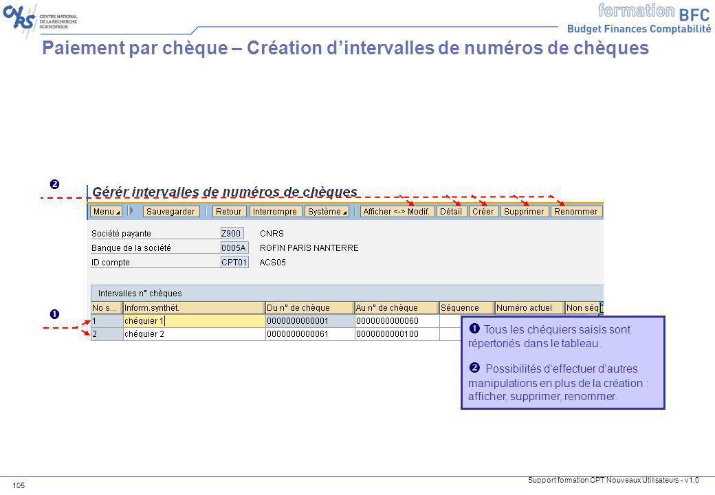 Support formation CPT Nouveaux Utilisateurs - v1.0 105 Paiement par chèque – Création dintervalles de numéros de chèques Tous les chéquiers saisis son