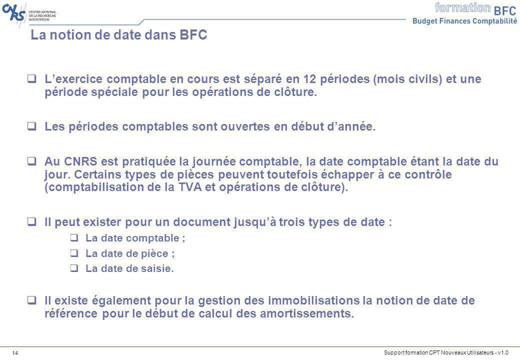 Support formation CPT Nouveaux Utilisateurs - v1.0 14 La notion de date dans BFC Lexercice comptable en cours est séparé en 12 périodes (mois civils)