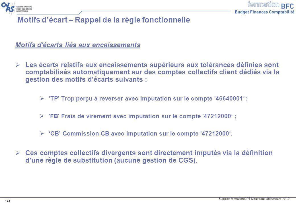 Support formation CPT Nouveaux Utilisateurs - v1.0 141 Motifs décart – Rappel de la règle fonctionnelle Motifs d'écarts liés aux encaissements Les éca