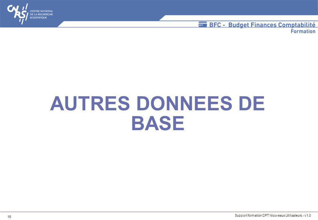 Support formation CPT Nouveaux Utilisateurs - v1.0 15 AUTRES DONNEES DE BASE