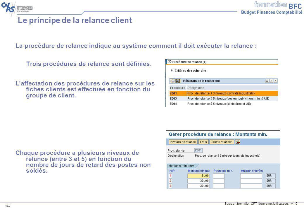 Support formation CPT Nouveaux Utilisateurs - v1.0 167 Le principe de la relance client La procédure de relance indique au système comment il doit exé