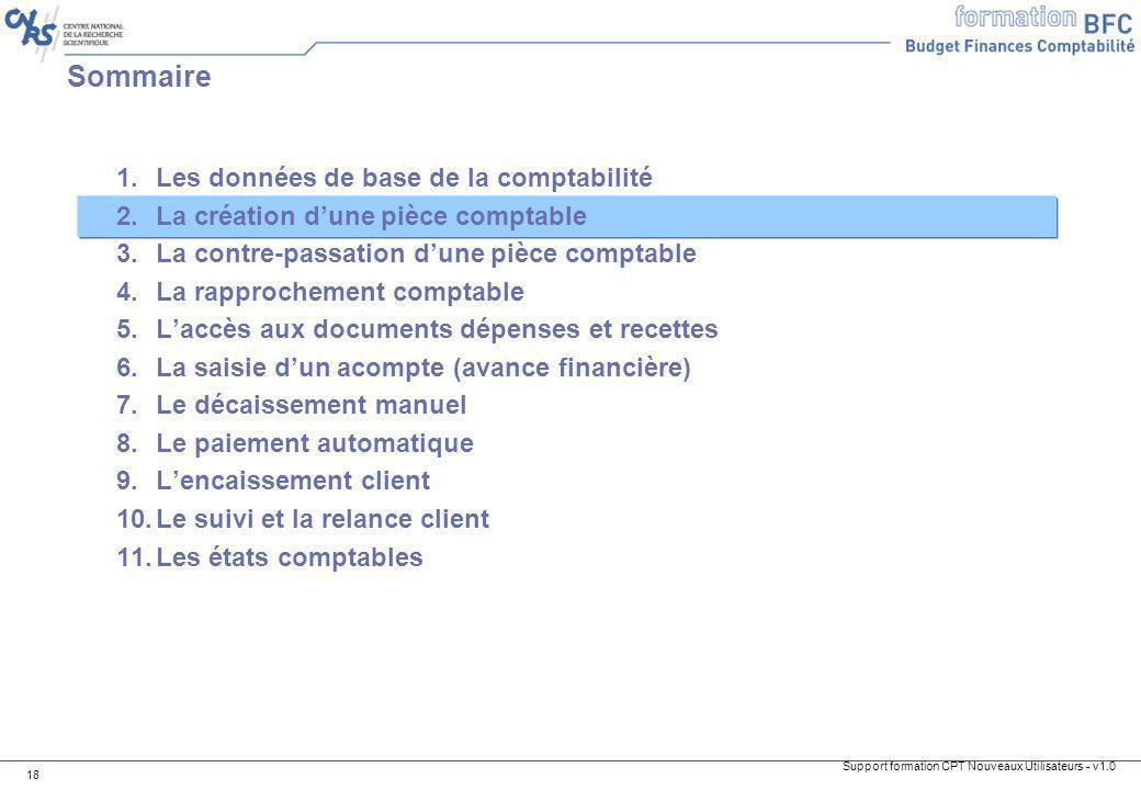 Support formation CPT Nouveaux Utilisateurs - v1.0 18 1.Les données de base de la comptabilité 2.La création dune pièce comptable 3.La contre-passatio