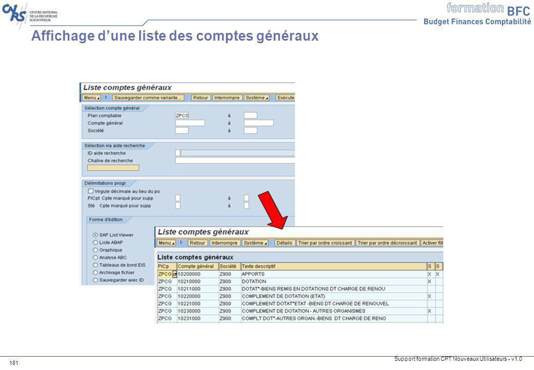 Support formation CPT Nouveaux Utilisateurs - v1.0 181 Affichage dune liste des comptes généraux