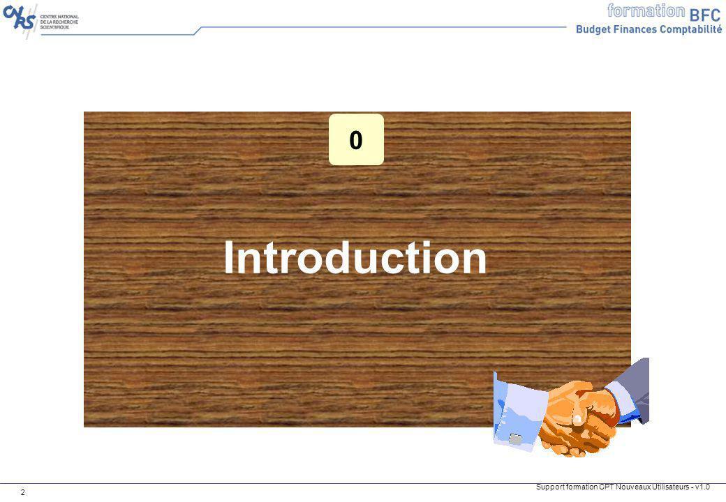 Support formation CPT Nouveaux Utilisateurs - v1.0 3 Introduction Objectifs de cette formation 1.Expliquer les flux comptables modélisés dans BFC 2.Décrire les différentes opérations comptables à réaliser dans BFC A la fin de ce cours, vous serez en mesure de :