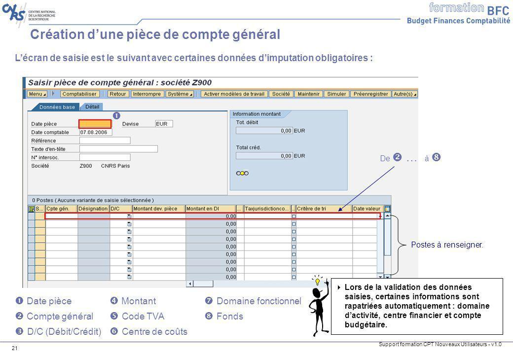 Support formation CPT Nouveaux Utilisateurs - v1.0 21 Lécran de saisie est le suivant avec certaines données dimputation obligatoires : Date pièce Mon