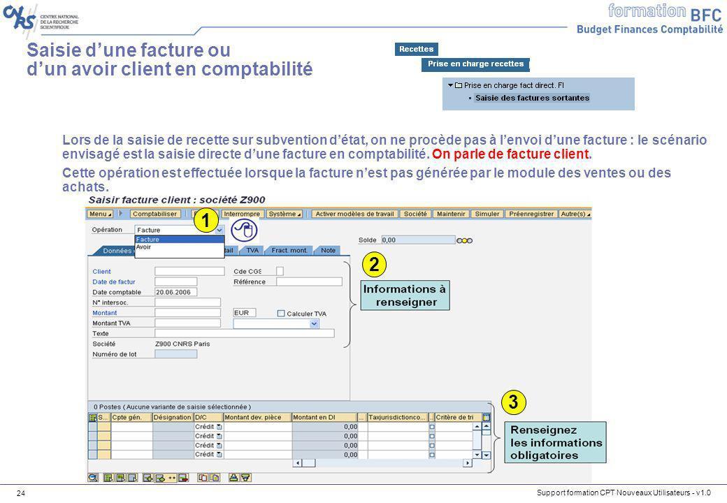 Support formation CPT Nouveaux Utilisateurs - v1.0 24 Lors de la saisie de recette sur subvention détat, on ne procède pas à lenvoi dune facture : le