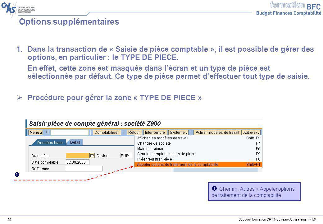 Support formation CPT Nouveaux Utilisateurs - v1.0 29 Options supplémentaires 1.Dans la transaction de « Saisie de pièce comptable », il est possible