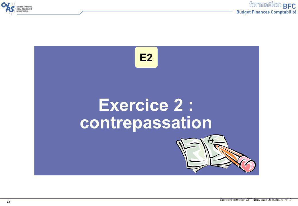 Support formation CPT Nouveaux Utilisateurs - v1.0 41 Exercice 2 : contrepassation E2