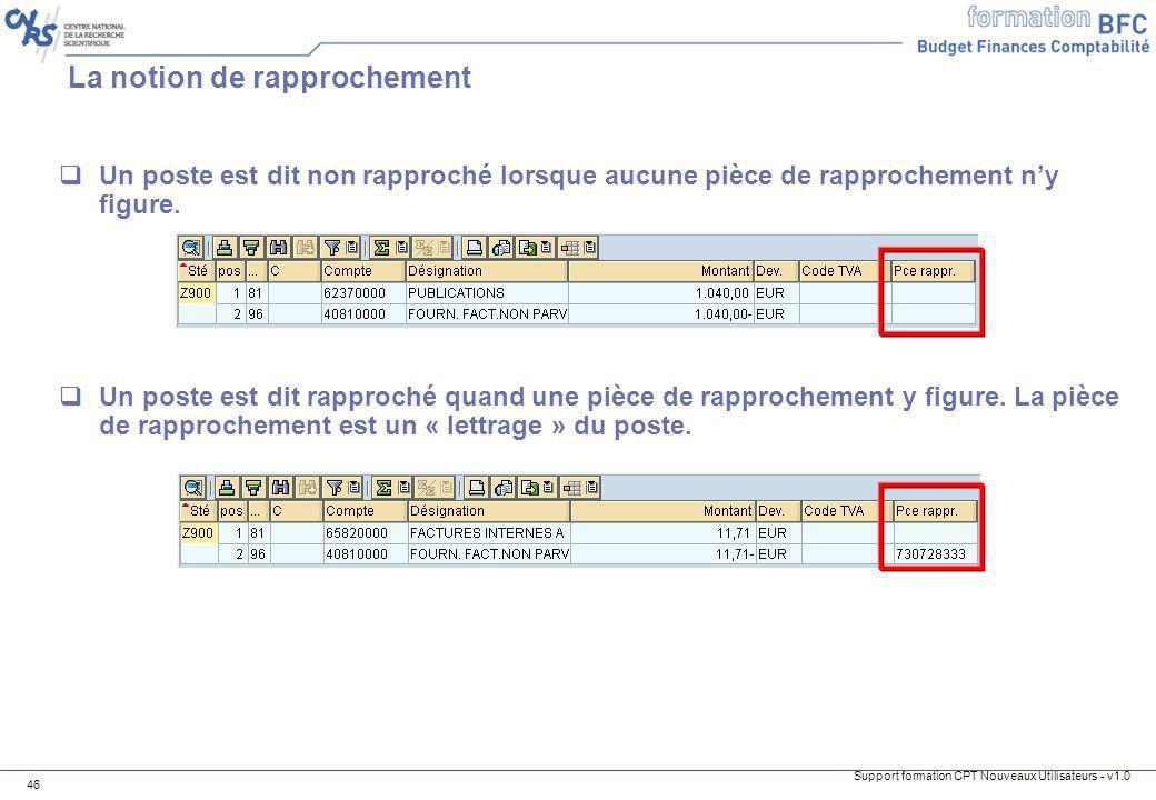 Support formation CPT Nouveaux Utilisateurs - v1.0 46 La notion de rapprochement Un poste est dit non rapproché lorsque aucune pièce de rapprochement