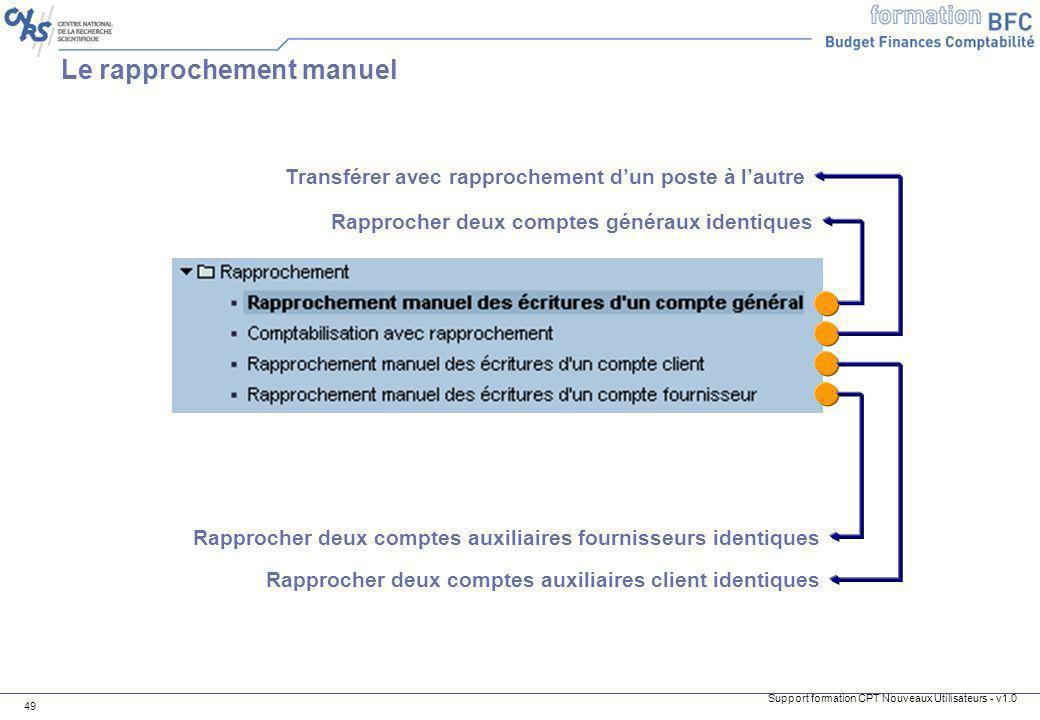 Support formation CPT Nouveaux Utilisateurs - v1.0 49 Le rapprochement manuel Rapprocher deux comptes auxiliaires fournisseurs identiques Rapprocher d