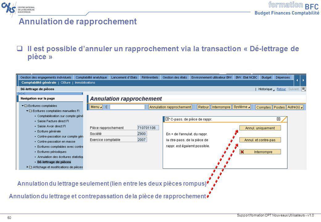 Support formation CPT Nouveaux Utilisateurs - v1.0 50 Annulation de rapprochement Il est possible dannuler un rapprochement via la transaction « Dé-le