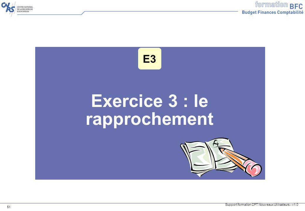 Support formation CPT Nouveaux Utilisateurs - v1.0 51 Exercice 3 : le rapprochement E3