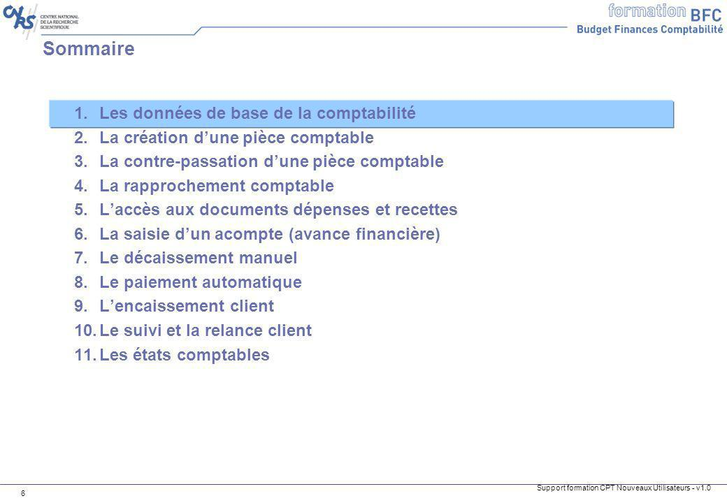 Support formation CPT Nouveaux Utilisateurs - v1.0 6 1.Les données de base de la comptabilité 2.La création dune pièce comptable 3.La contre-passation