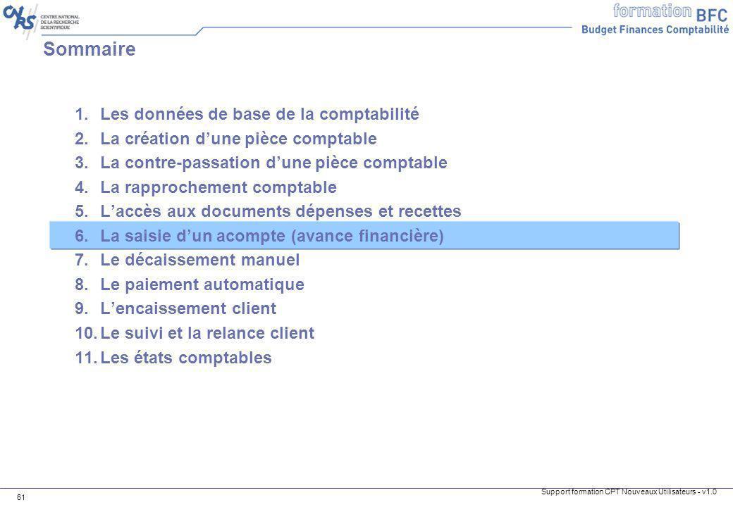 Support formation CPT Nouveaux Utilisateurs - v1.0 61 1.Les données de base de la comptabilité 2.La création dune pièce comptable 3.La contre-passatio