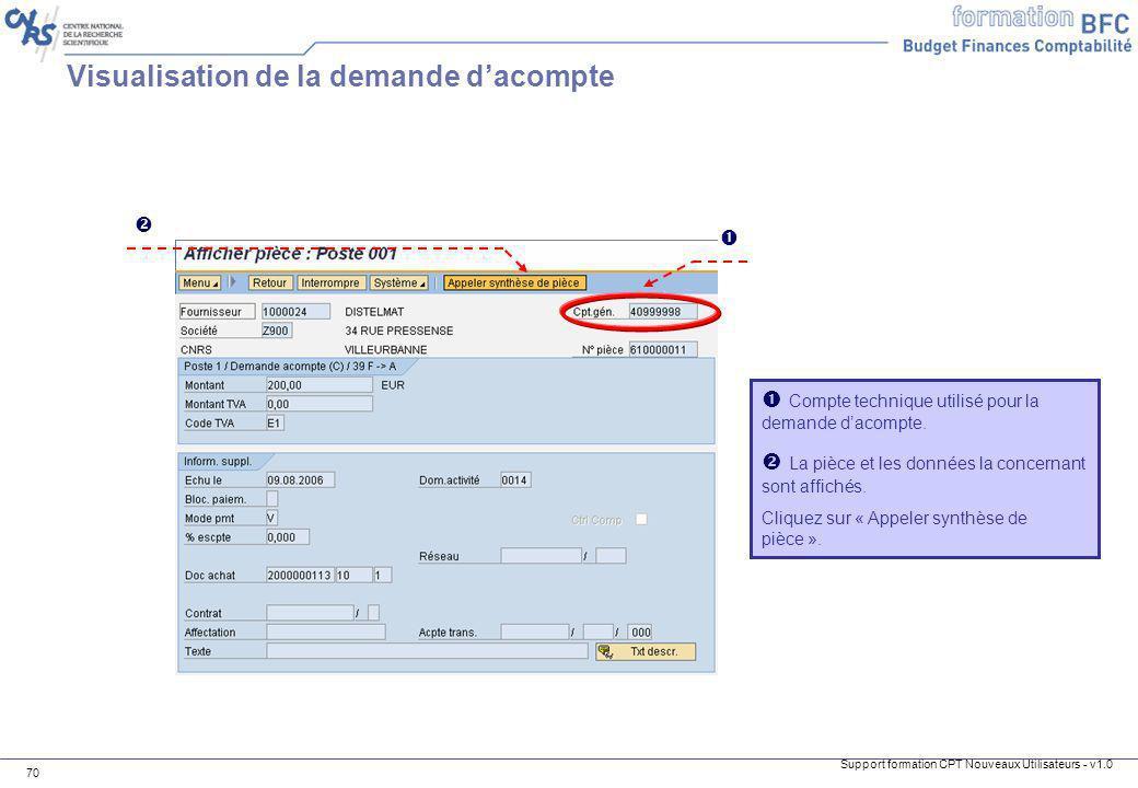 Support formation CPT Nouveaux Utilisateurs - v1.0 70 Compte technique utilisé pour la demande dacompte. La pièce et les données la concernant sont af