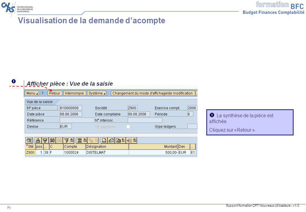 Support formation CPT Nouveaux Utilisateurs - v1.0 71 La synthèse de la pièce est affichée. Cliquez sur «Retour ». Visualisation de la demande dacompt