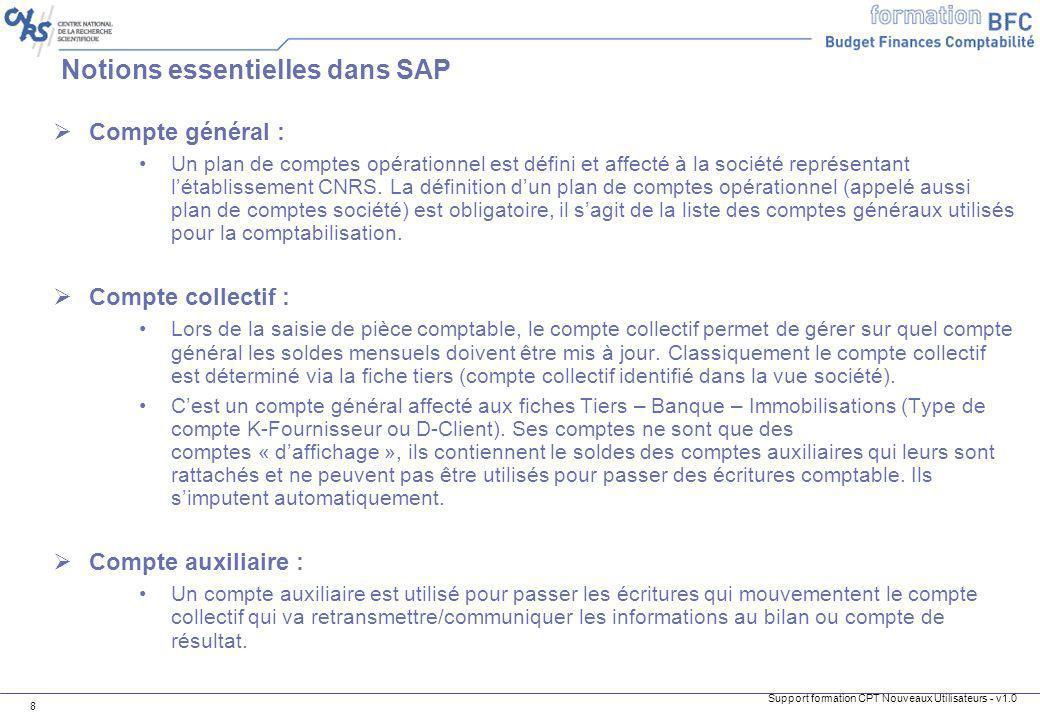 Support formation CPT Nouveaux Utilisateurs - v1.0 9 Notions essentielles dans SAP Compte général spécial (CGS) : Cest un compte collectif, un compte cible géré par les codes CGS.