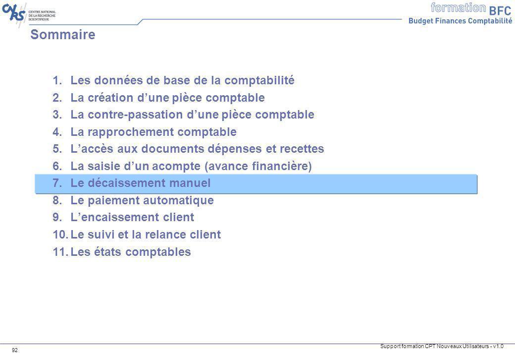 Support formation CPT Nouveaux Utilisateurs - v1.0 92 1.Les données de base de la comptabilité 2.La création dune pièce comptable 3.La contre-passatio