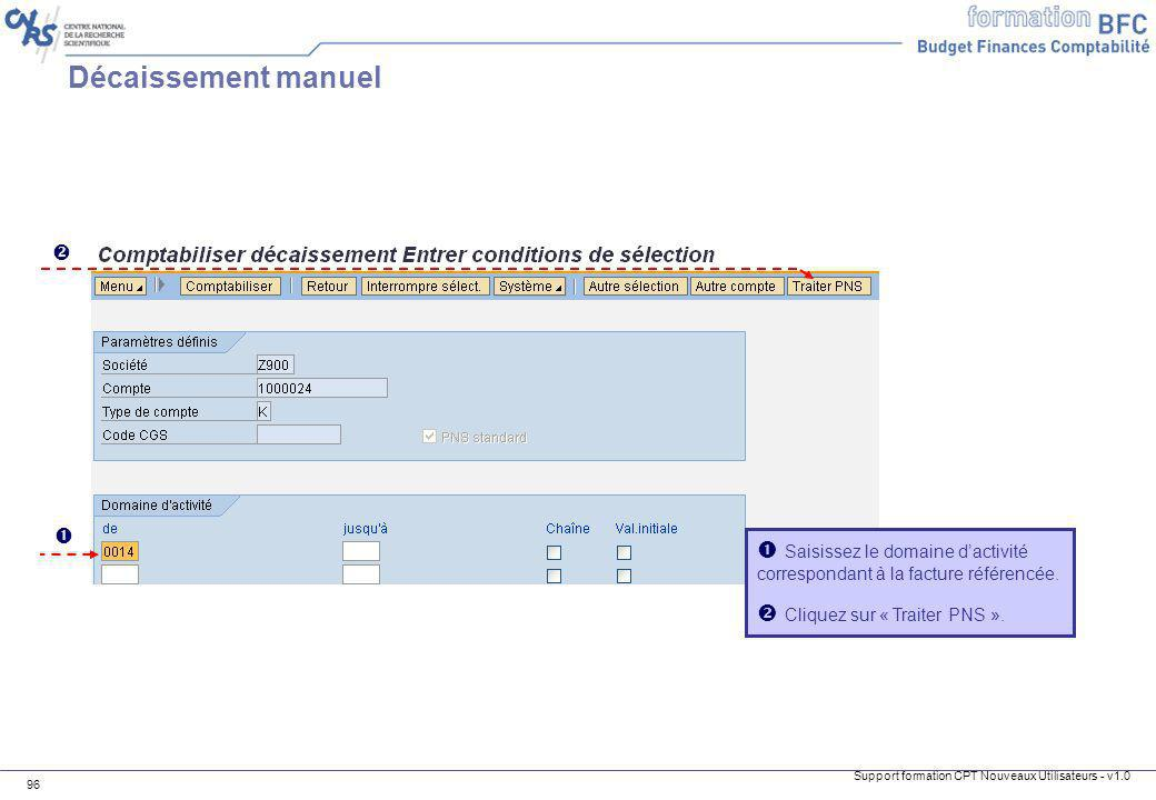 Support formation CPT Nouveaux Utilisateurs - v1.0 96 Saisissez le domaine dactivité correspondant à la facture référencée. Cliquez sur « Traiter PNS