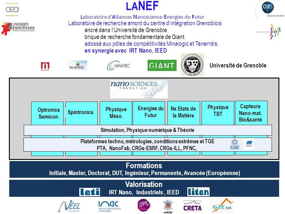 LA NEF Laboratoire d'Alliances N anoscience- E nergies du F utur Simulation, Physique numérique & Théorie Formations Initiale, Master, Doctorat, DUT,