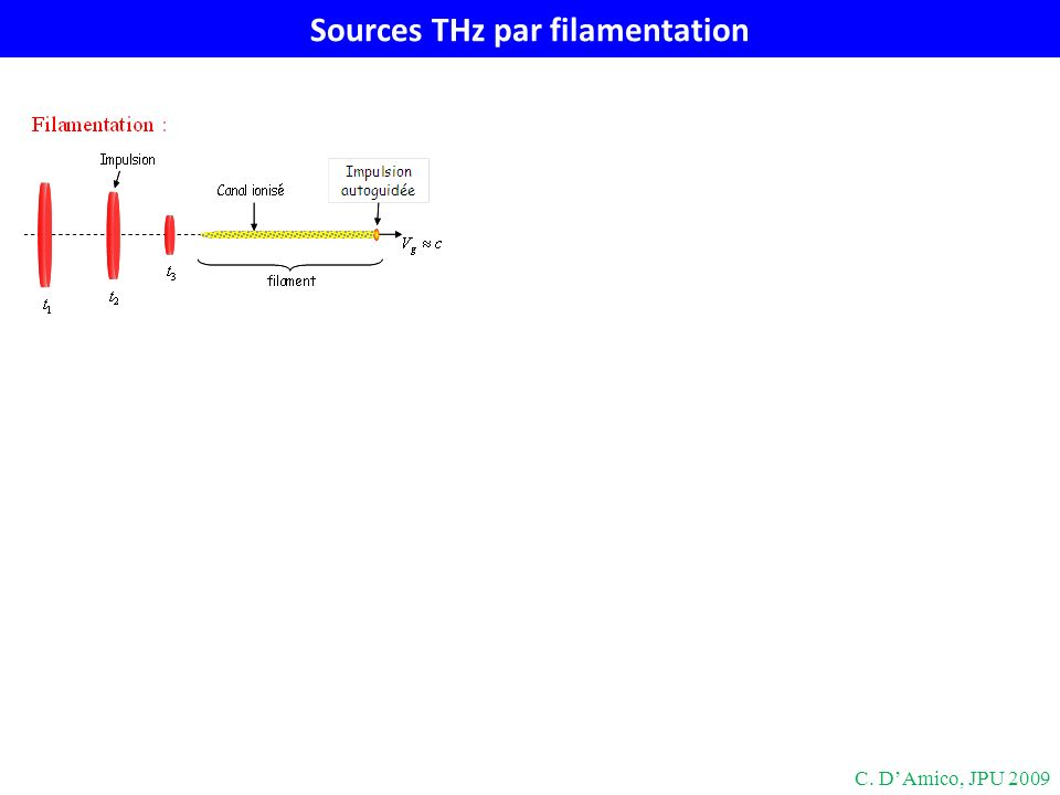 Sources THz par filamentation C. DAmico, JPU 2009
