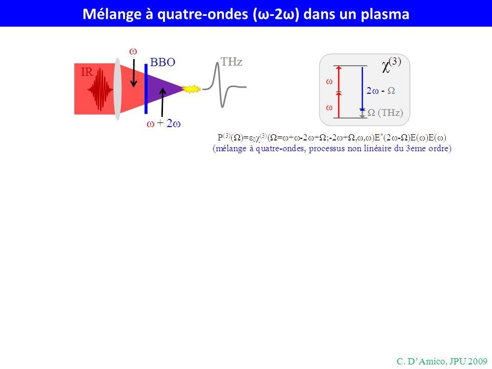 Mélange à quatre-ondes (ω-2ω) dans un plasma C. DAmico, JPU 2009