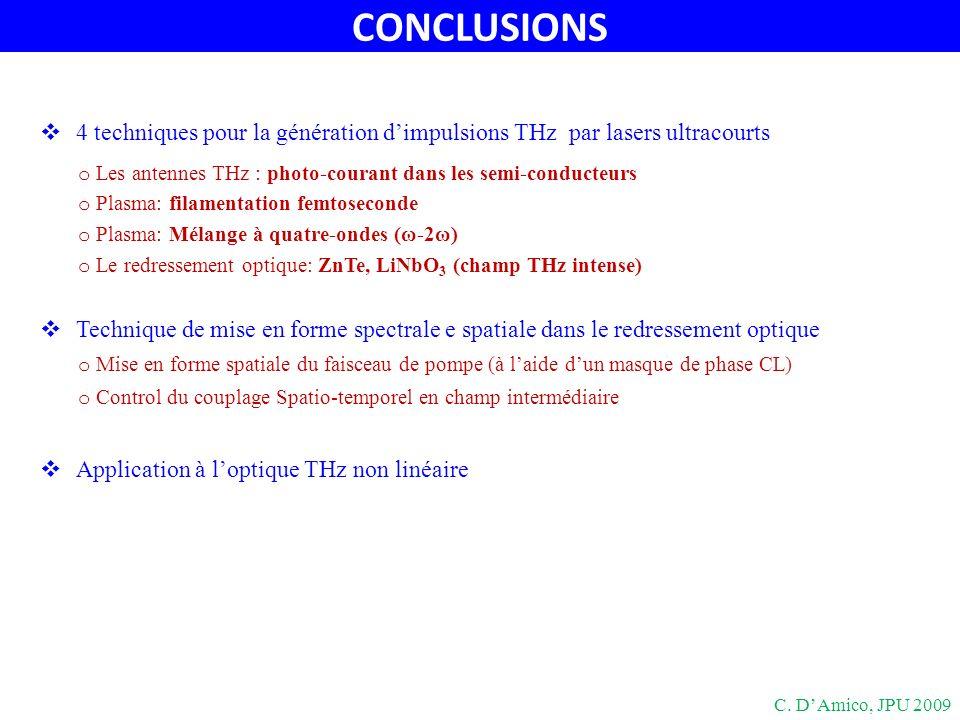 CONCLUSIONS 4 techniques pour la génération dimpulsions THz par lasers ultracourts o Les antennes THz : photo-courant dans les semi-conducteurs o Plas