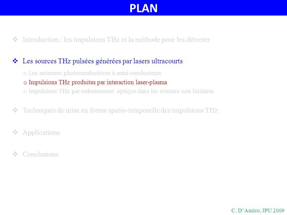 Sources THz par filamentation C. DAmico, JPU 2009