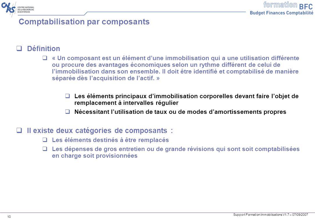 Support Formation Immobilisations V1.7 – 07/09/2007 10 Comptabilisation par composants Définition « Un composant est un élément dune immobilisation qu