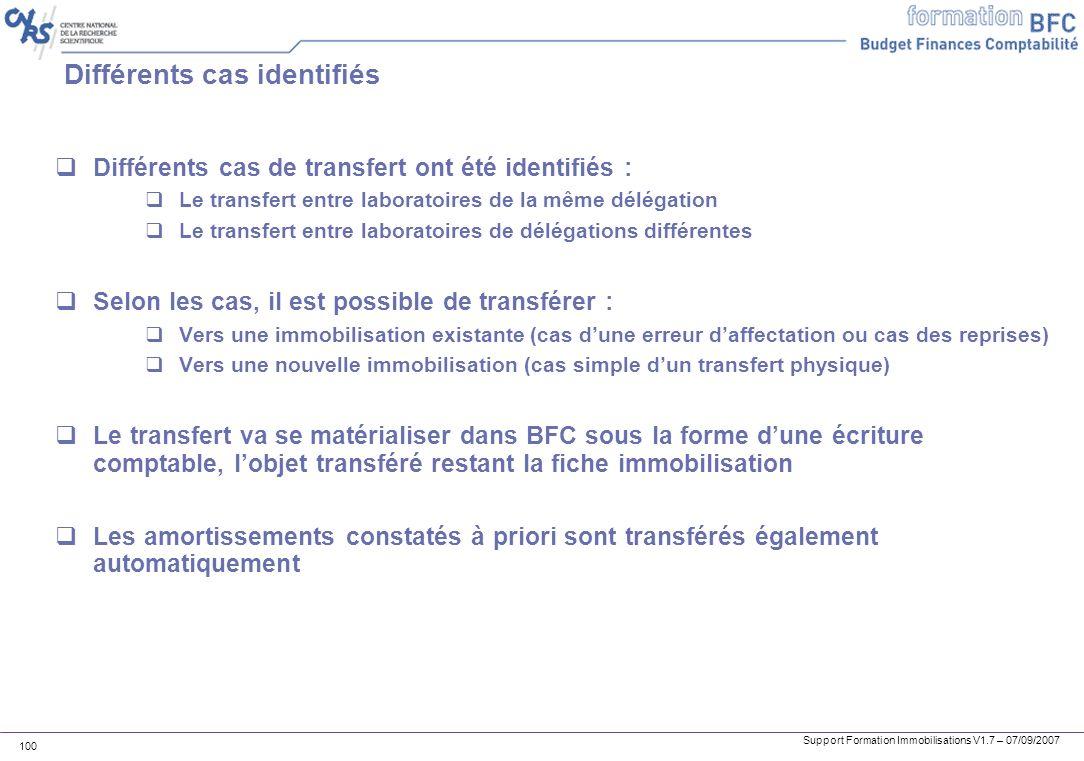 Support Formation Immobilisations V1.7 – 07/09/2007 100 Différents cas identifiés Différents cas de transfert ont été identifiés : Le transfert entre