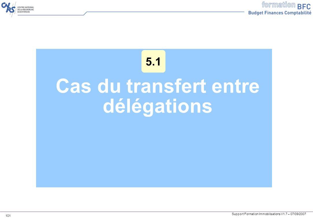 Support Formation Immobilisations V1.7 – 07/09/2007 101 Cas du transfert entre délégations 5.1