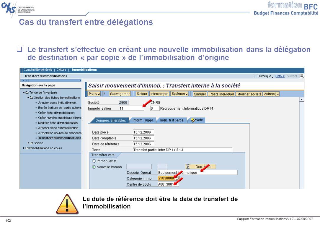 Support Formation Immobilisations V1.7 – 07/09/2007 102 Cas du transfert entre délégations Le transfert seffectue en créant une nouvelle immobilisatio