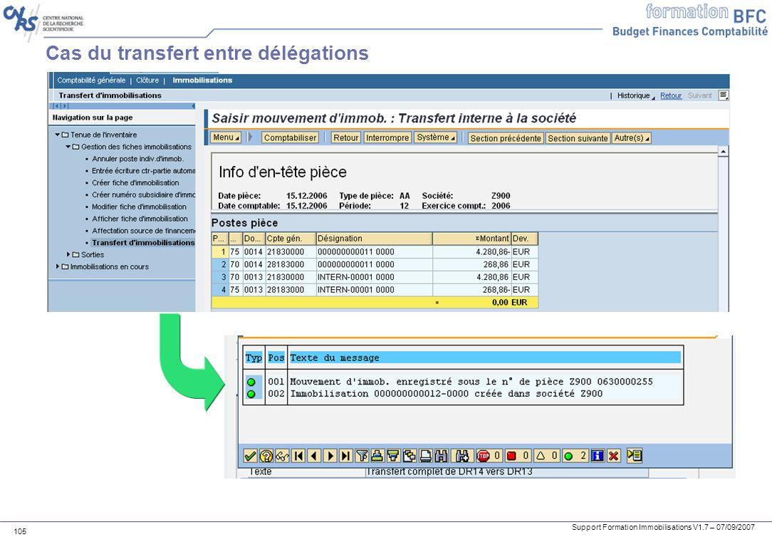 Support Formation Immobilisations V1.7 – 07/09/2007 105 Cas du transfert entre délégations