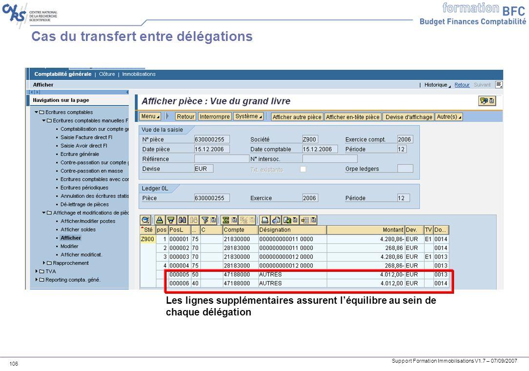 Support Formation Immobilisations V1.7 – 07/09/2007 106 Cas du transfert entre délégations Les lignes supplémentaires assurent léquilibre au sein de c