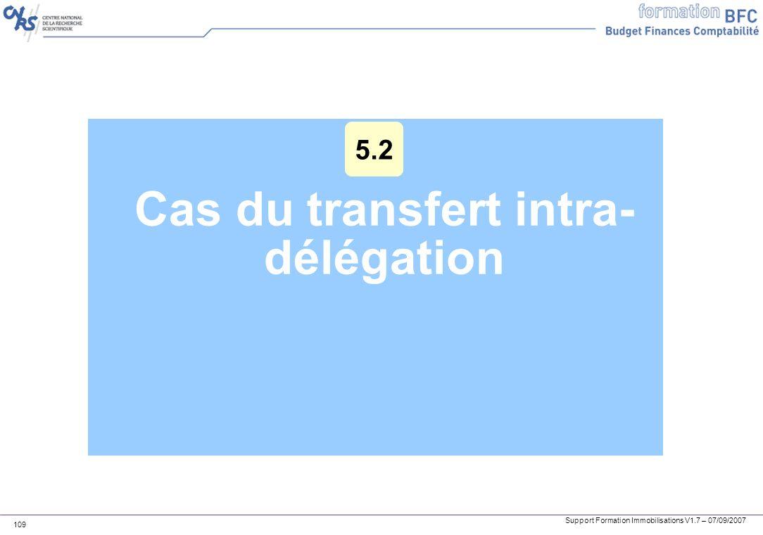 Support Formation Immobilisations V1.7 – 07/09/2007 109 Cas du transfert intra- délégation 5.2