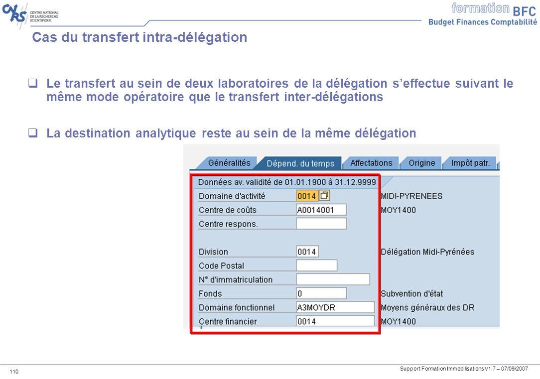 Support Formation Immobilisations V1.7 – 07/09/2007 110 Cas du transfert intra-délégation Le transfert au sein de deux laboratoires de la délégation s